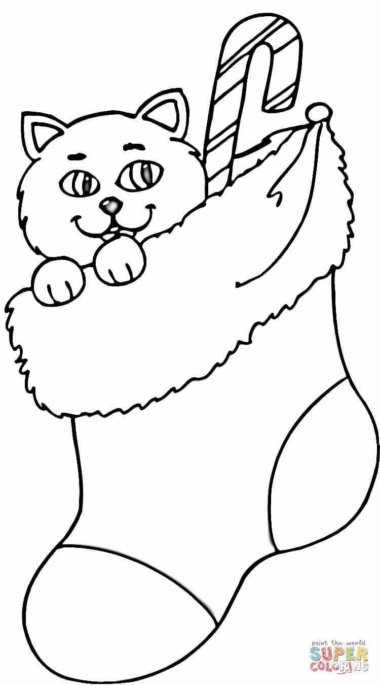 Coloriage - Chat dans une chaussette de Noël | Coloriages ...