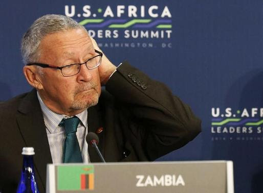 Zambia's Vice President Guy Scott (L) listens as U.S. President Barack Obama (not pictured) speaks, at the first Leaders' Session of the U.S.-Africa Leaders Summit, at the State Department in Washington, in this August 6, 2014 file picture. REUTERS-Larry Downing-Files