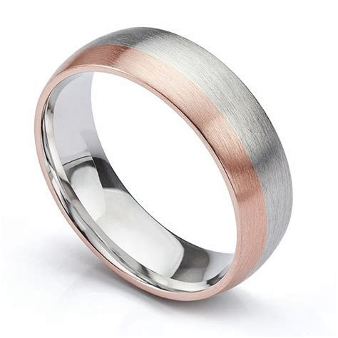 Brushed Satin Two Colour Wedding Ring