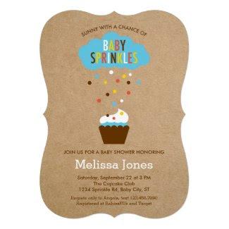 Cupcake Baby Sprinkle Baby Shower Invitation