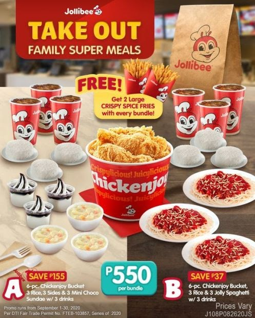 Enjoy your Jollibee Family Super Meal bundles with FREE 2 Large Crispy Spice Fries