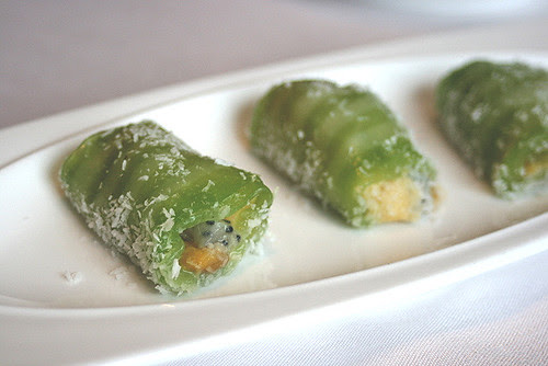 A fruity dessert wrapped in glutinous rice skin and shredded coconut