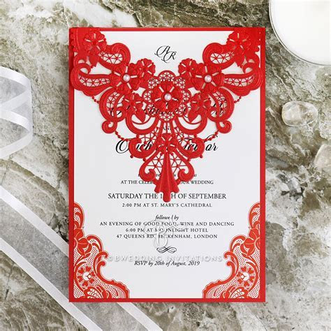 Bright and Bold Red Lace with Pearls   Modern Wedding