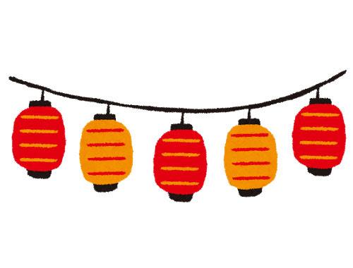 フリー素材 お祭りで吊るされるたくさんの提灯を描いたフリー