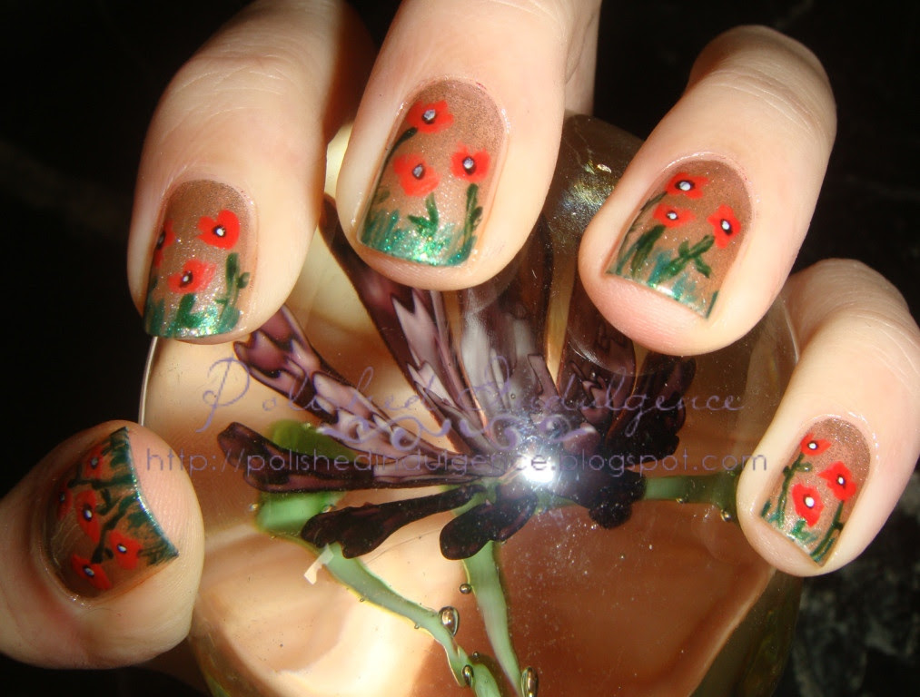 red flowers on nails