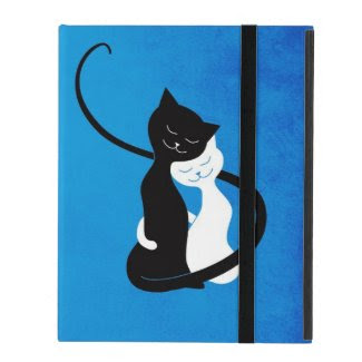 Blue Cute White And Black Cats In Love Folio iPad Covers