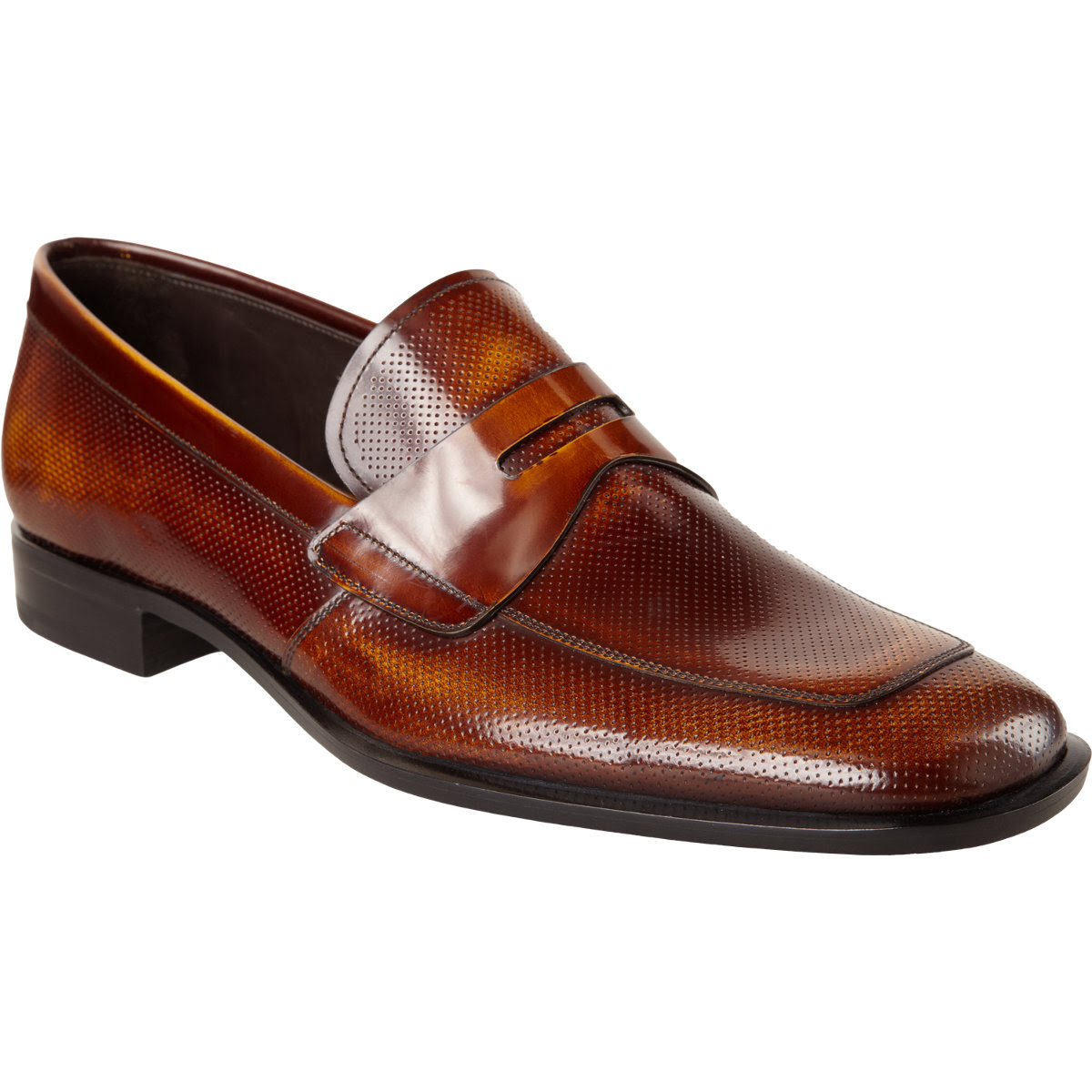 Prada Perforated Apron Toe Penny Loafer in Brown for Men ...