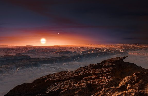 Artist's illustration of the surface of Proxima b, a potentially Earth-like world that circles the nearest star to the sun.