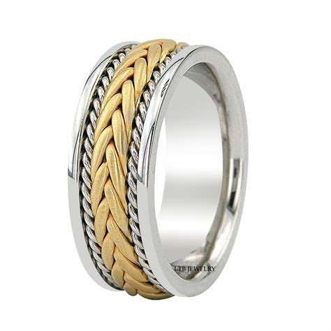 14K TWO TONE GOLD BRAIDED MENS WEDDING BANDS,HANDMADE 8MM