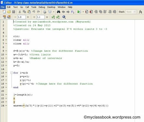Simpson's 1/3rd Rule MATLAB Program Examples