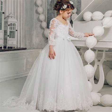 Long Sleeve Flower Girls Dresses for Wedding White Girls