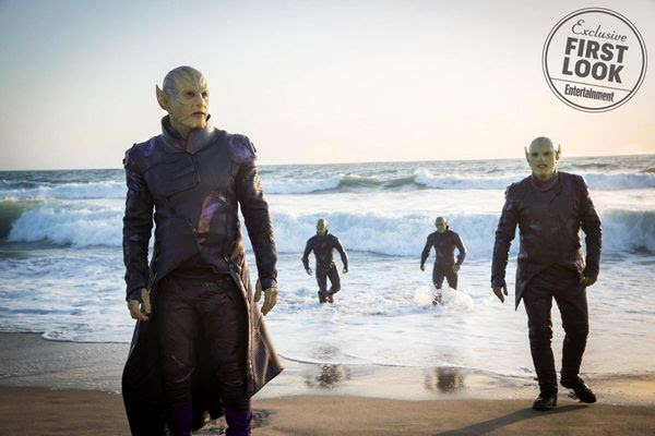 Talos (Ben Mendelsohn, foreground) and his group of Skrulls come ashore in CAPTAIN MARVEL.