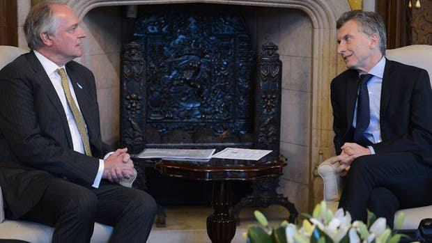 El presidente Mauricio Macri y el CEO global de Unilever, Paul Polman, ayer, en la Casa Rosada