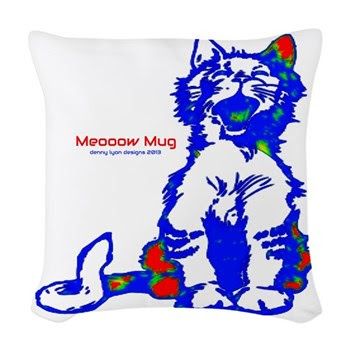 Funny Hello Meoow Woven Throw Pillow