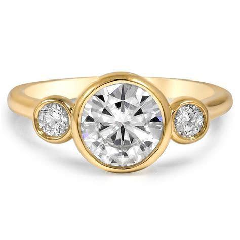 Custom Three Stone Bezel Diamond Ring   Brilliant Earth