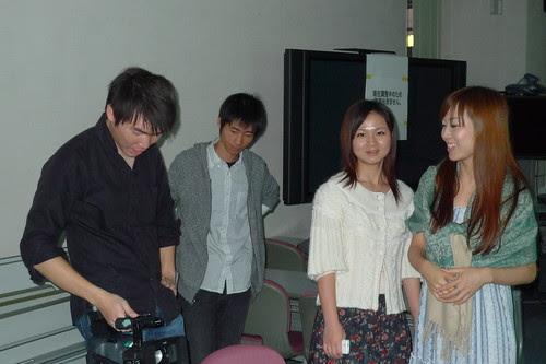 Kong, Yang Yang, Ko-san, Zhu Dan on the set of Stardust Memories