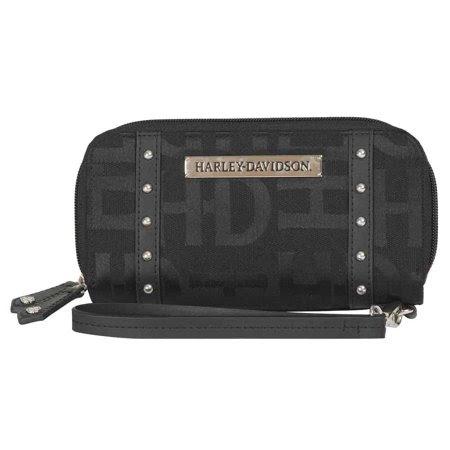 Harley-Davidson Women's Jacquard Studded Zip Wristlet Clutch Wallet, HD3483J-BLK