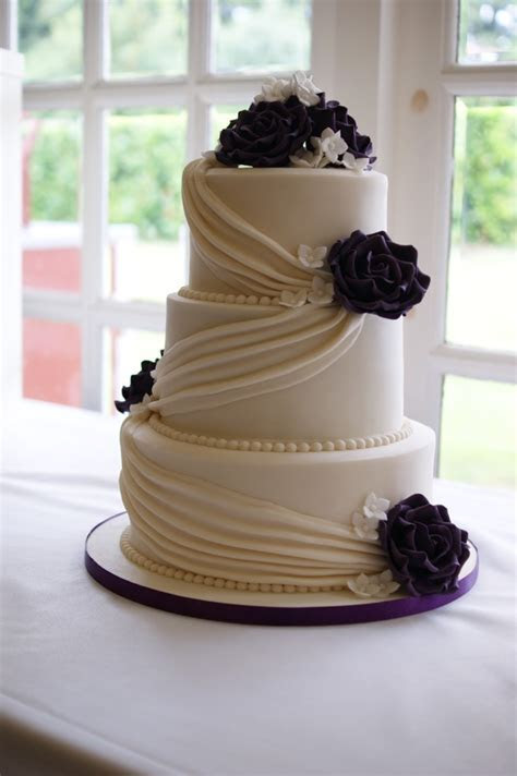 Cadbury Purple Drape Wedding Cake   Bakealous