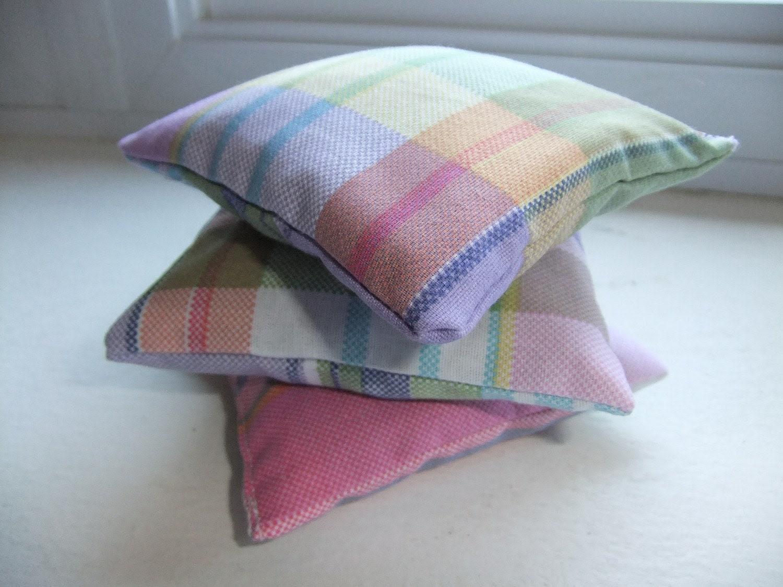 Lavender Sachets - Moth Away Sachet - Set of Three (3) - Plaid Cotton Fabric