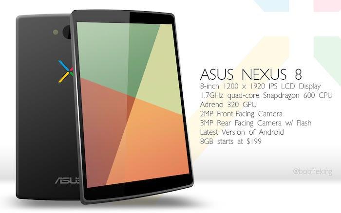 Un concept de design et spécifications pour l'Asus Nexus 8