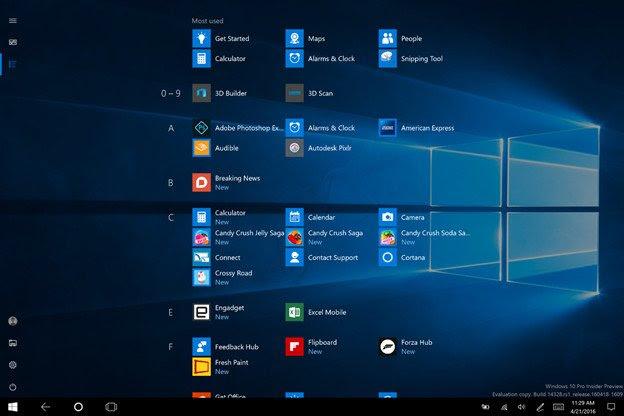 Windows 10 Tablet App List