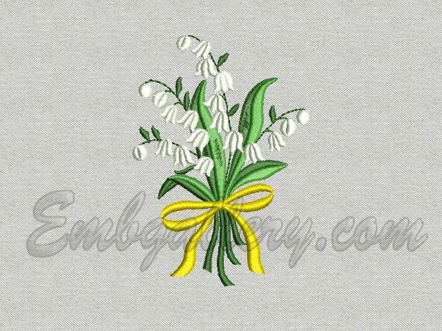 Lily Of The Valleya Bouquet Machine Embroidery Design