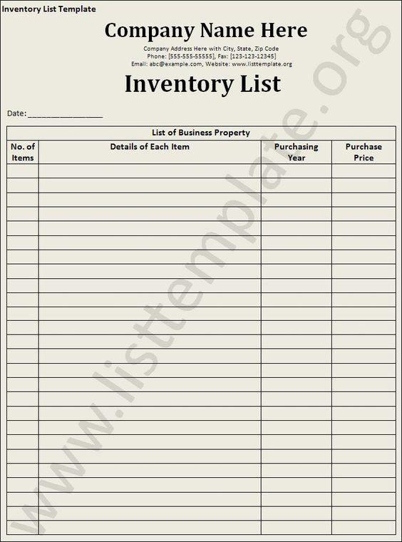 Inventory-List-Template   Craft Ideas   Pinterest   Templates