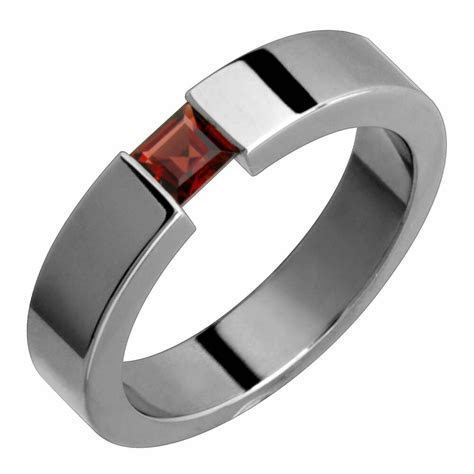Titanium Ring Garnet Tension Set 5mm Wide Handmade