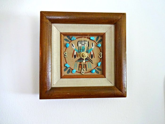 native american inspired handmade second hand clock with turquoise and indian etsy shop