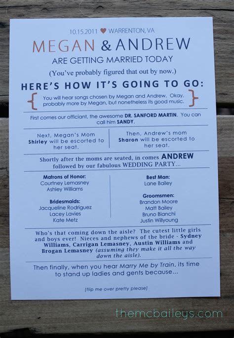 {DIY Wedding Programs}   the mcbaileys