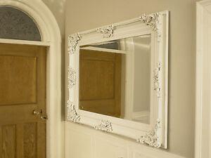 Large ivory ornate framed mirror bathroom kitchen wall ...