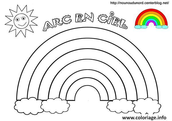 Coloriage Arc En Ciel Soleil Avec Couleurs Jecoloriecom