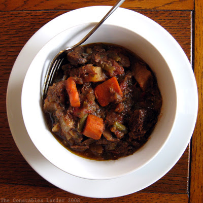 beef stew plated