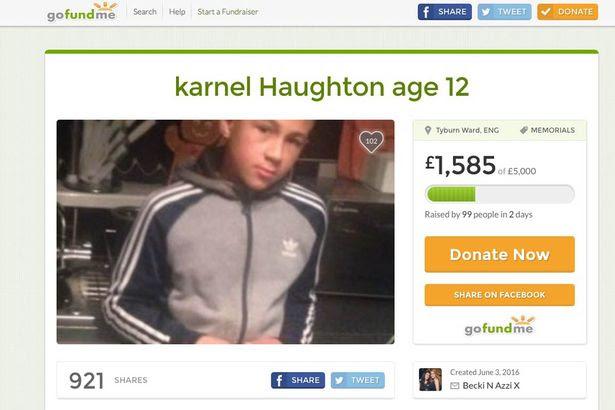 Karnel Haughton GoFundMe page