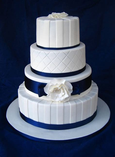 Navy & White Wedding Cake   CakeCentral.com