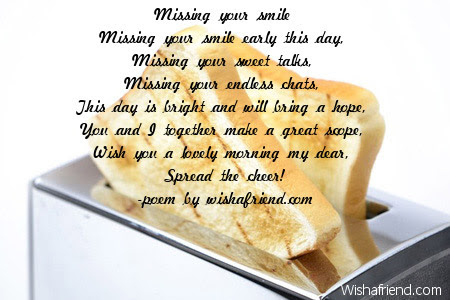 Good Morning Poem For Her Missing Your Smile
