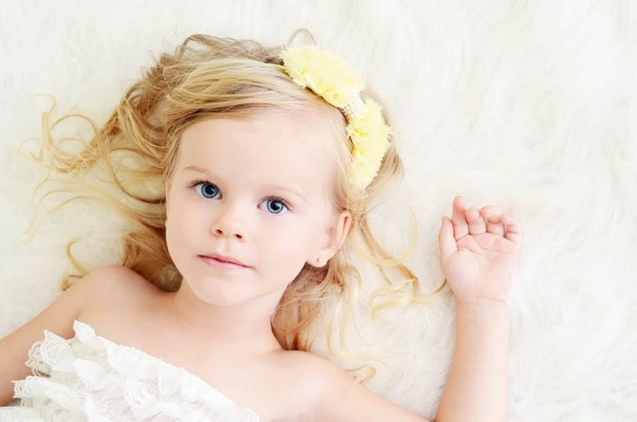 Yellow Hair Bow - Pastel Yellow Chiffon Hair Bow with Pearls Stretchy Yellow Headband or Hair Clip - Chic Couture - Baby Toddler Girl