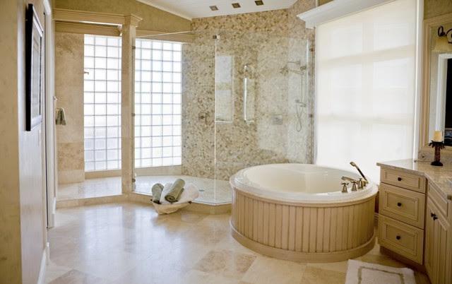 Durango Cream Travertine Tile Bathroom - traditional - bathroom