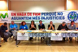 Rueda de prensa de los trabajadores de Telefónica Catalunya para informar de su calendario de acciones.