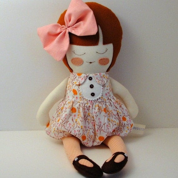 Edith - handmade cloth doll with linen bow