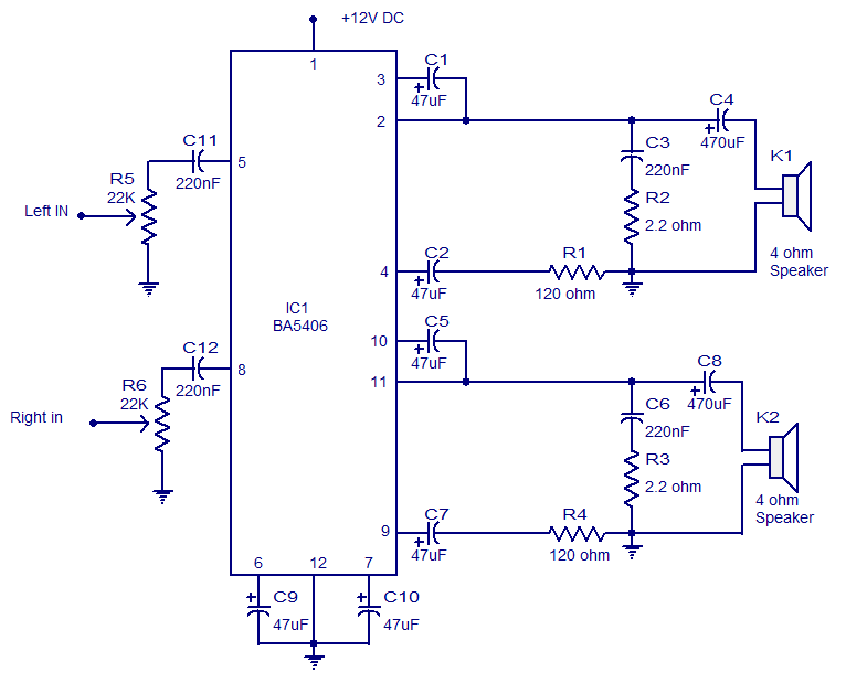 5W Stereo Audio Amplifier with BA5406 circuit r