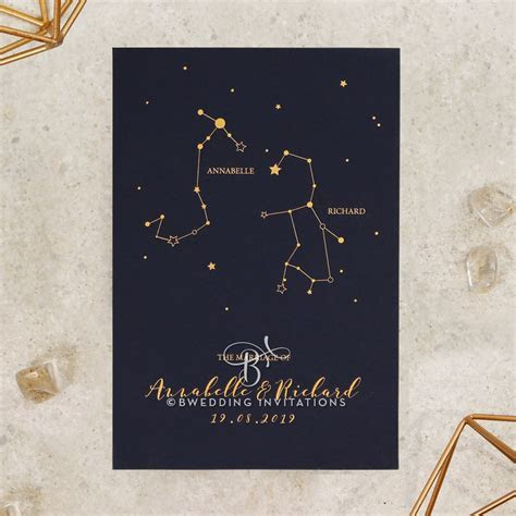 Our Love in the Stars   Lush Gold & Navy Wedding Invitation