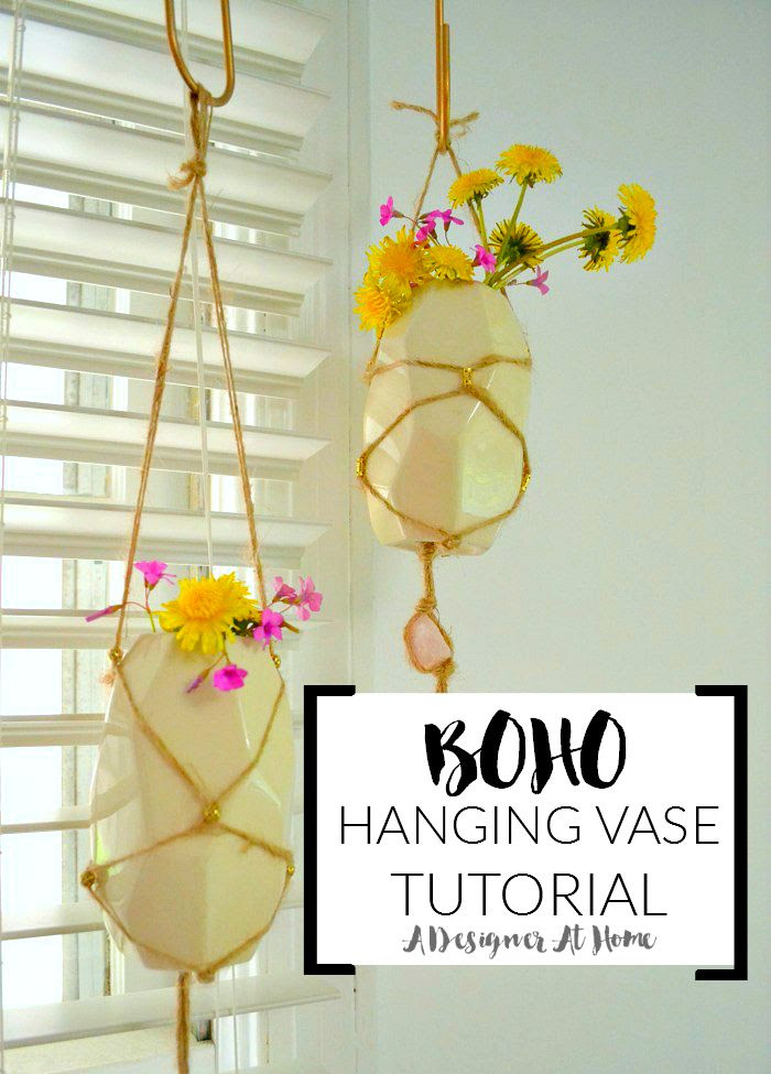 do it yourself bohemian hanging vasesboho handfuls of wild flowers in diiy hanging vases