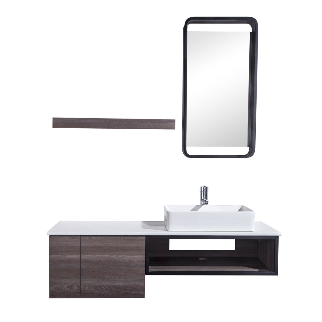 48 Single Vanity Cabinet Set Wall Mount Mirror And White Ceramic