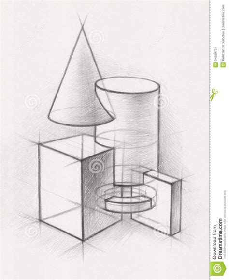 solid geometric shapes illustration pencil drawing