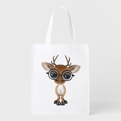 Nerdy Baby Deer Wearing Glasses Grocery Bag