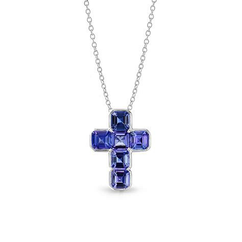 Tanzanite Semi Tubular Cross Pendant   Shimansky Jewellers