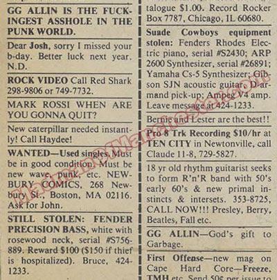 GG Allin ad