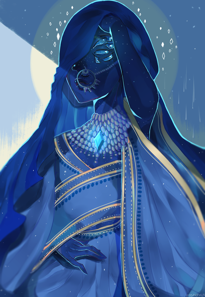"""♥ have you seen the new episodes of su?!!! Like!!! I can already tell Blue Diamond is going to be my fave //// this is just my interpretation of """"my diamond"""". The eyes were inspired by rather..."""