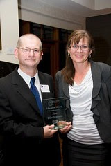 Tom Worthington, on receiving the ACT 2010 ICT Education Award, with Senator Kate Lundy